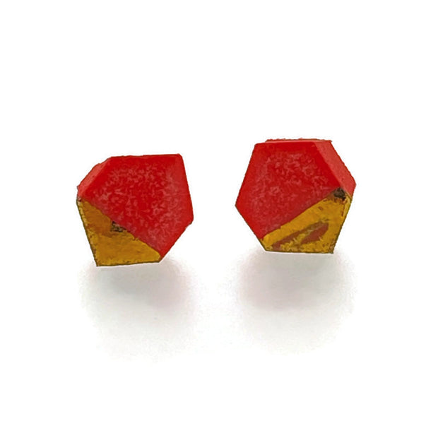 Porcelain Tiny Geometric Stud Earrings