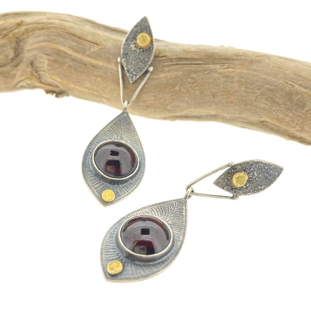 Fused Botanical Dot - Garnet Earrings