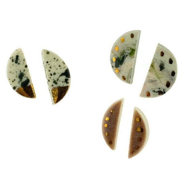 Porcelain Half Moon Stud Earrings