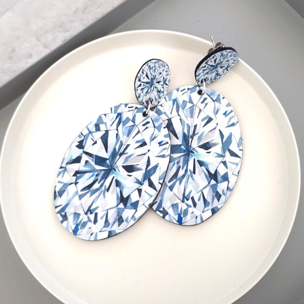Oval Shaped Diamond Illustration - Large Drop Earring