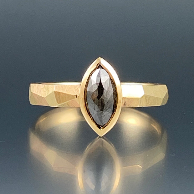 Salt and Pepper Marquise Rustic Diamond Ring