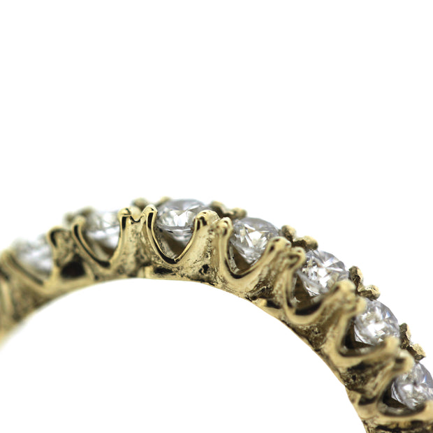 2mm diamond engagement half eternity band with unique organic texture and side viewing, detail view of side opening between prongs and organic texture