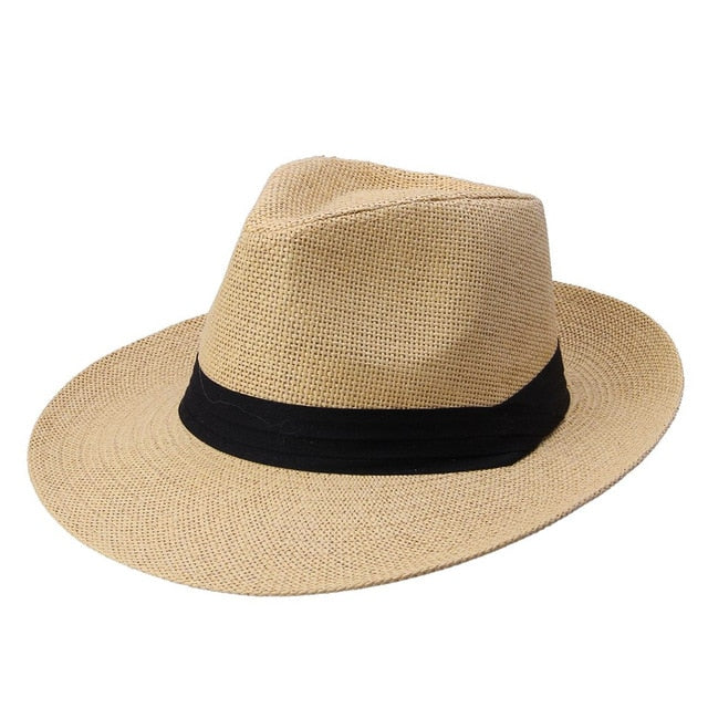 2272188353198 Fashion Men Women Panama Hat Contrast Color Straw Ribbon Pinched Crown  Rolled Trim Summer Floppy Hat