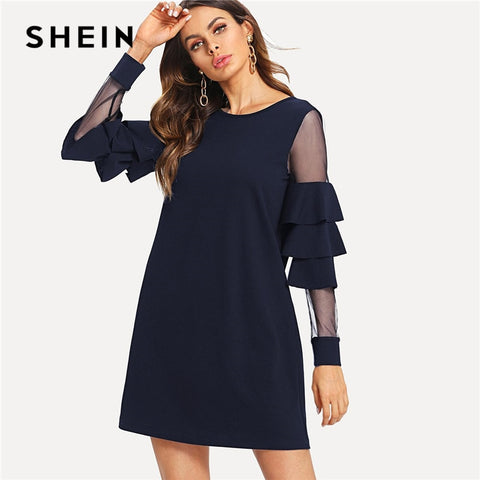 SHEIN Navy Office Lady Solid Ruffle Mesh Insert Tiered Layered Bell Sleeve  Dress 2018 Autumn Fashion 12bdf52fc95d