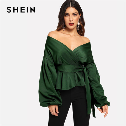 0371ab7b05b SHEIN Green Elegant Office Lady Solid Off Shoulder Lantern Sleeve Surplice  Peplum Blouse Autumn Workwear Women