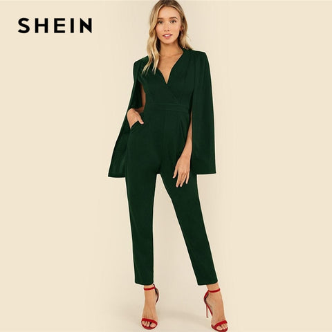 2dc8f816e1 SHEIN Green Plunging Neck Cloak Sleeve Solid Jumpsuit Elegant V neck High  Waist Jumpsuits Women Autumn