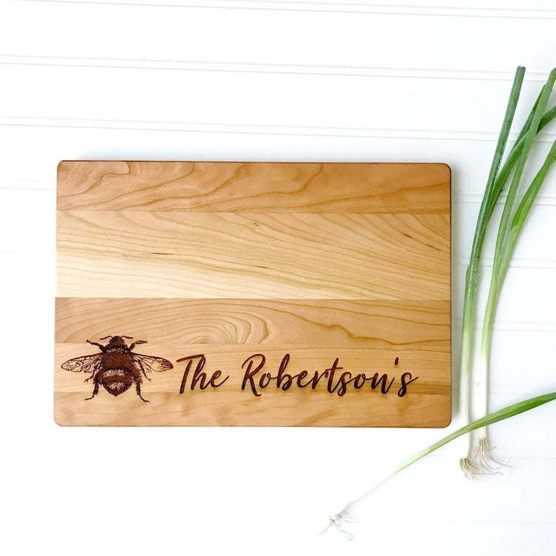 Bumble Bee Cutting Board Personalized with Last Name.