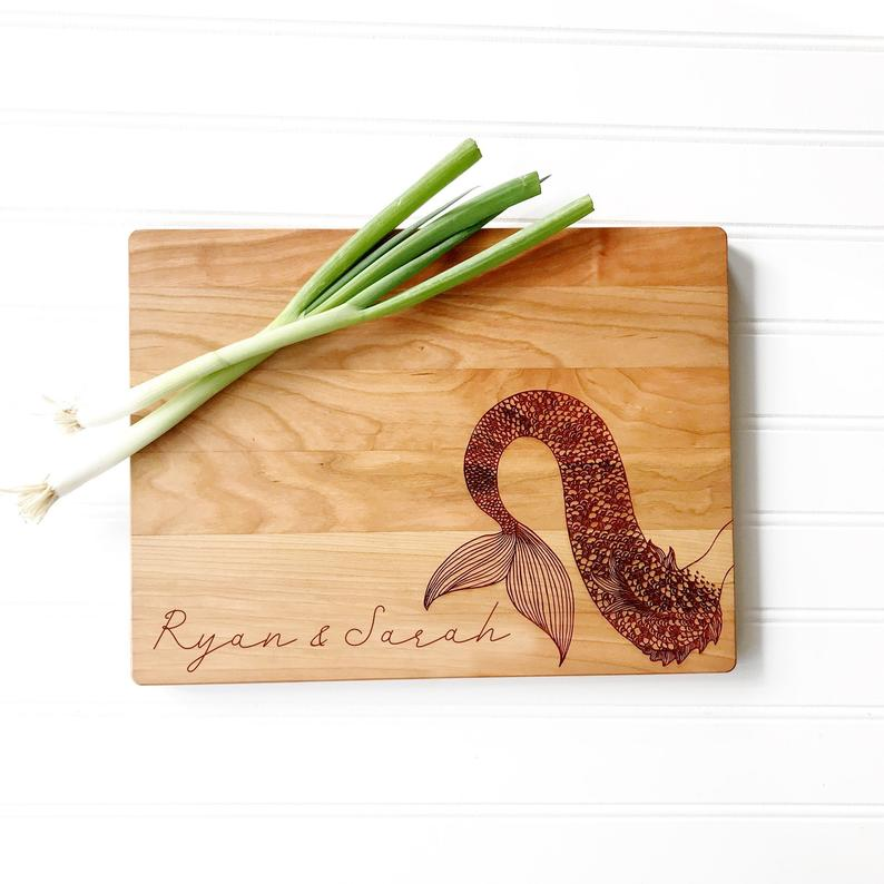 Mermaid Cutting Board Personalized with Custom Name.