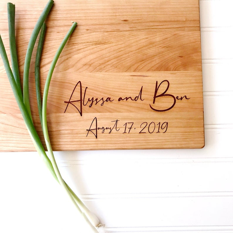 Personalized Cutting Board with Names and Date in Script Writing