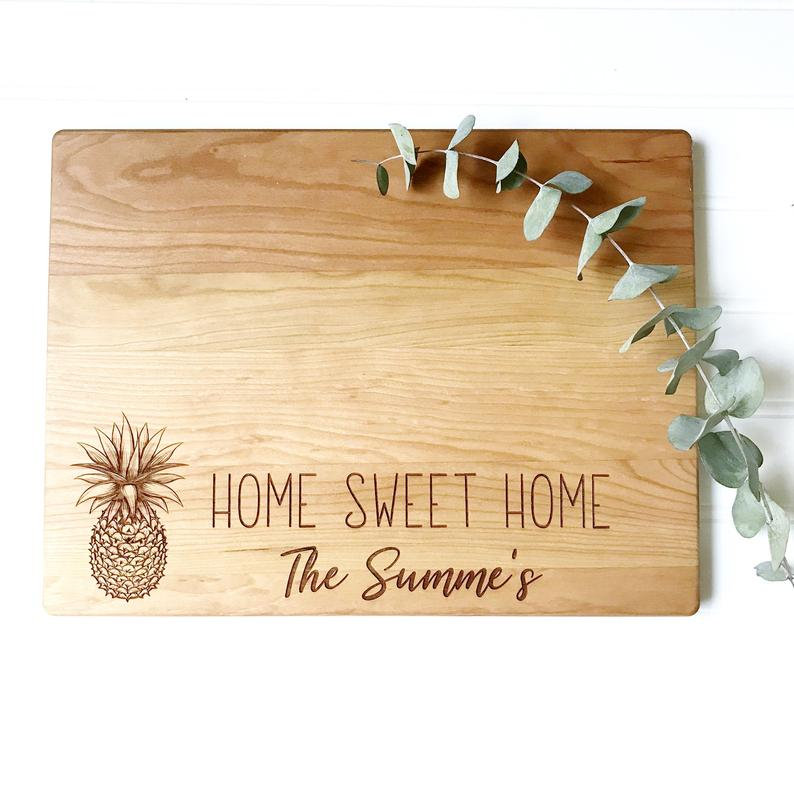 Home Sweet Home Personalized Cutting Board with Pineapple and Last Name