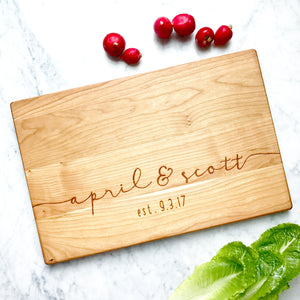 custom cutting board by milk and honey