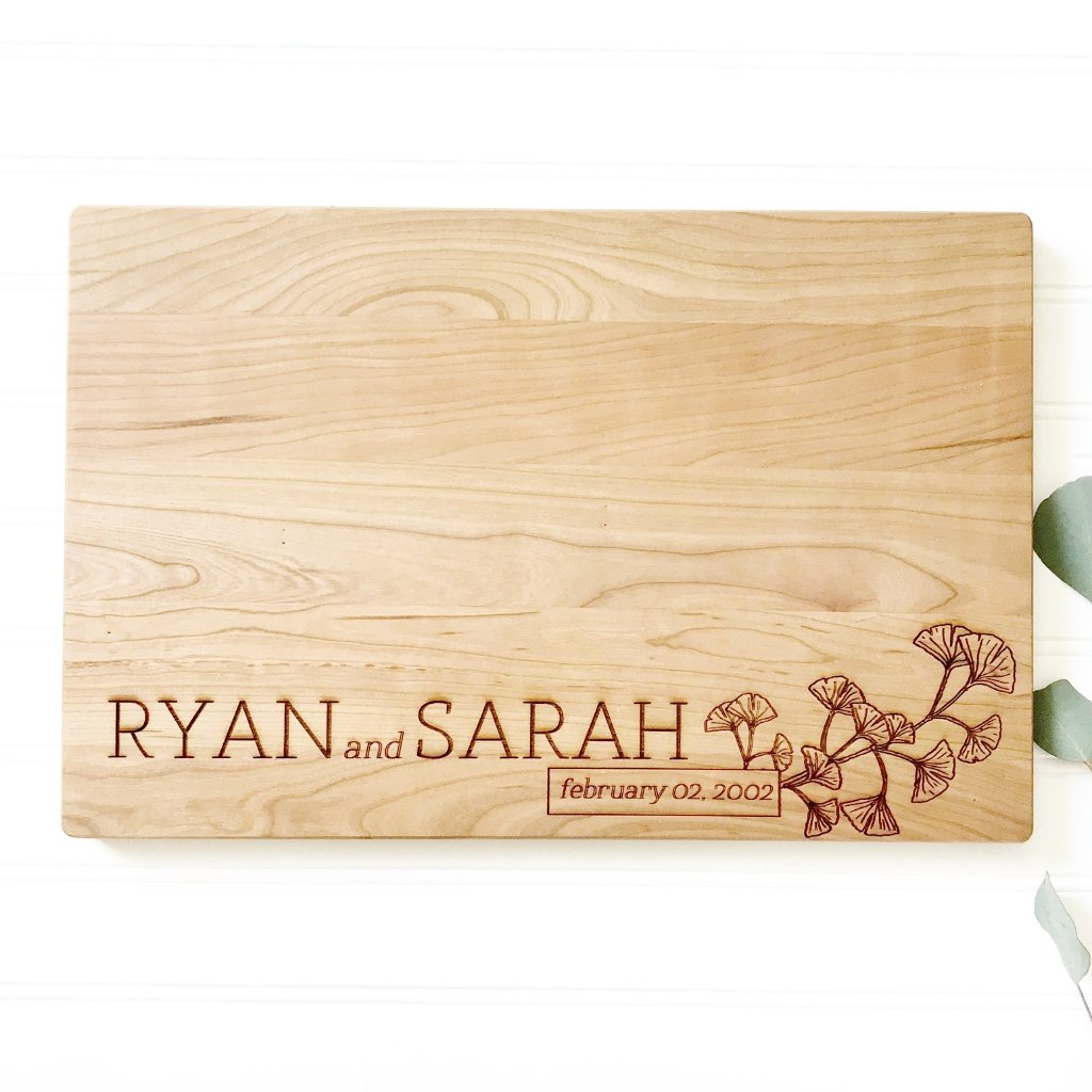 Personalized Cutting Board with Botanical Design engraved maple hardwood.