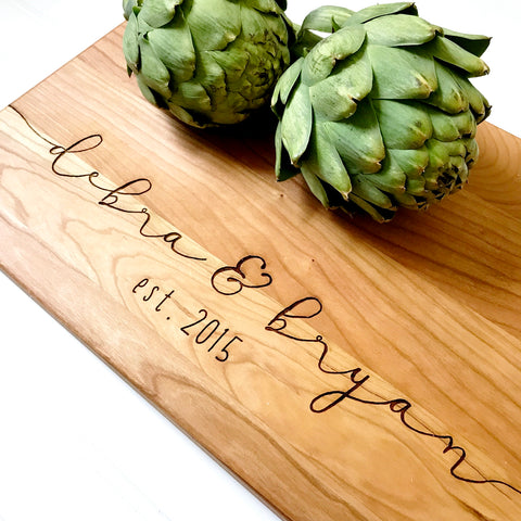 Cherry Cutting Board with Names and Date. Personalized kitchen decor.