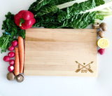 Wooden Cutting Board with Arrow Monogram and Custom Year, Initials.