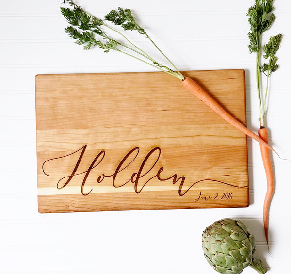 Personalized Cutting Board with Calligraphy Last Name and Date in Cherry Wood.