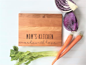 Mom's Kitchen Made with Love. Mothers Day Personalized Cutting Board.