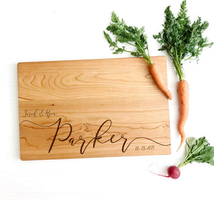 Personalized Cutting Board with Last Name and Date