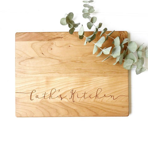 Custom Cutting Board for Grandma's Kitchen, Mom's Kitchen, or other Personalized Name.