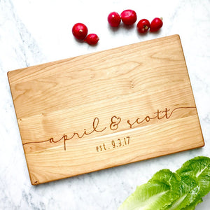 Personalized Cutting Board Engraved with Custom Names and Date