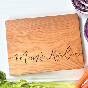 Personalized Mother's Day Cutting Board: Mom's Kitchen. Can be ANY Custom Name.