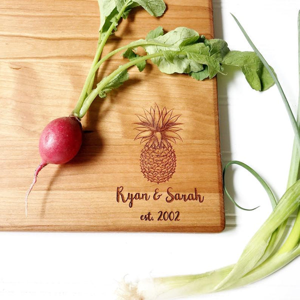 Pineapple Cutting Board Personalized with Names and Est. Date
