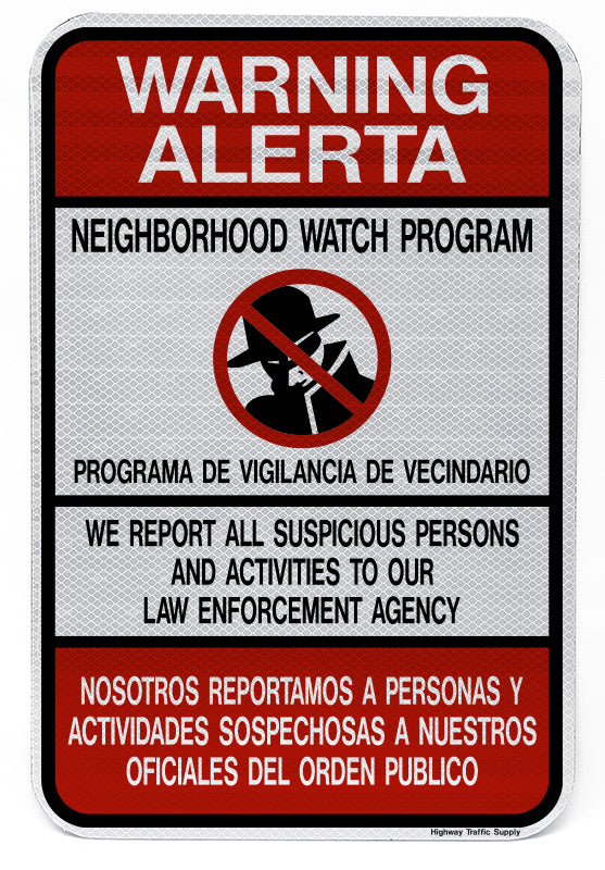 Warning Alerta Bilingual Neighborhood Watch Sign