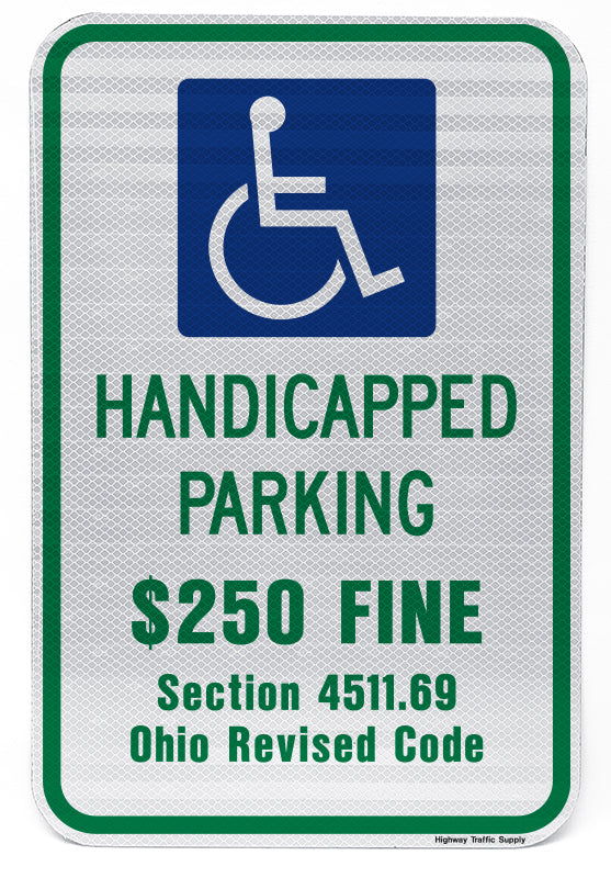 Handicapped Permit $250 Fine Section 4511.69 Ohio Revised Code Sign