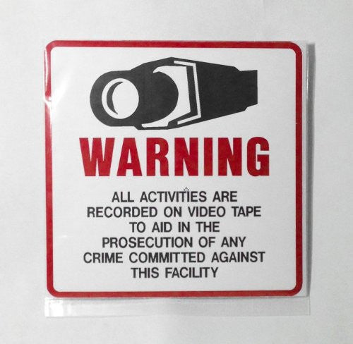 Security Surveillance CCTV Video Warning Decal