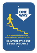 One Way Stairs (Down) Sign