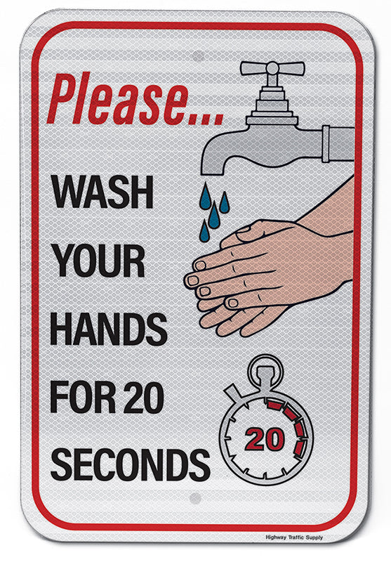 Please Wash Your Hands For 20 Seconds Sign
