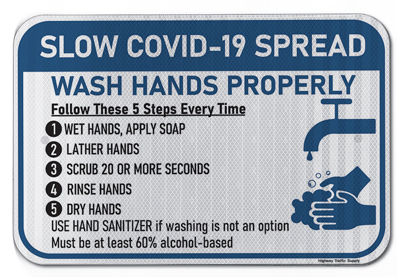 Slow Covid-19 Spread Wash Hands Properly Sign