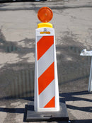 Verticade with White and Orange Barricade Striping