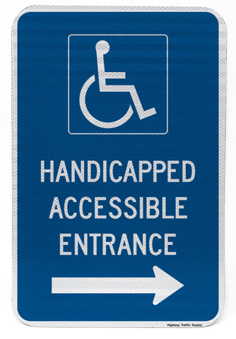 Handicapped Accessible Entrance Sign (with right arrow)