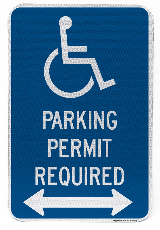 Handicapped Parking Permit Required Sign (with double arrow)