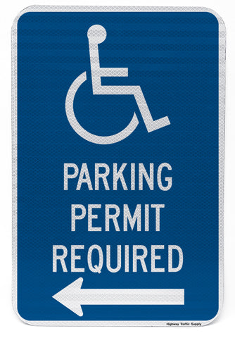 Handicapped Parking Permit Required Sign (with left arrow)