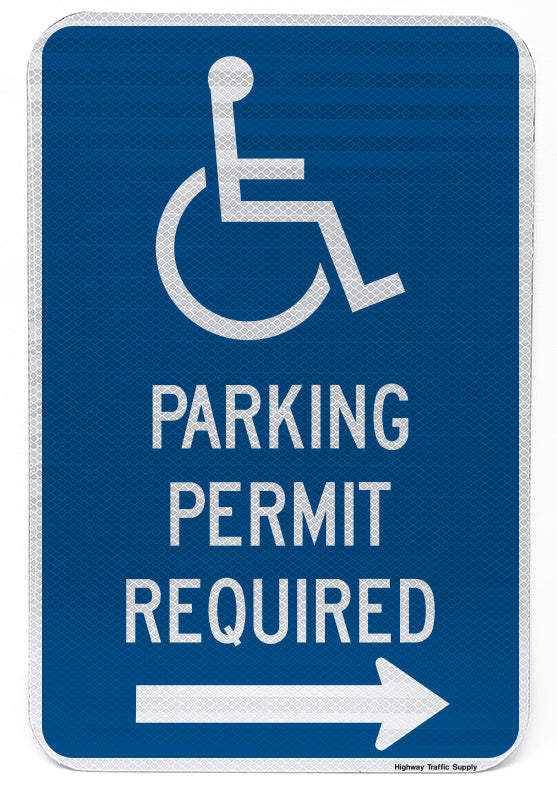Handicapped Parking Permit Required Sign (with right arrow)