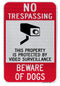 No Trespassing... Beware of Dogs Sign