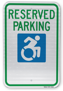 Reserved Parking Handicap Parking Sign (New York State Accessible Icon)
