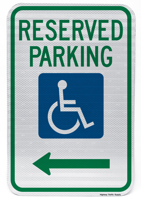 Reserved Parking Handicap Symbol Sign (with left arrow)