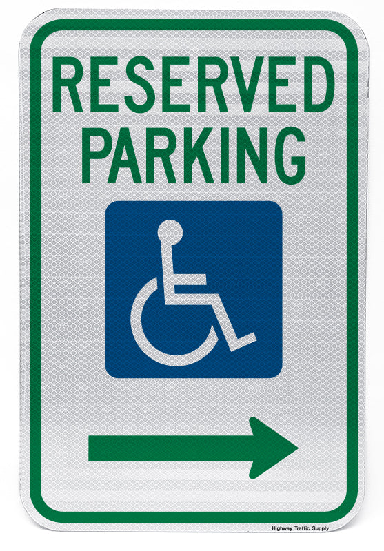 Reserved Parking Handicap Symbol Sign (with right arrow)