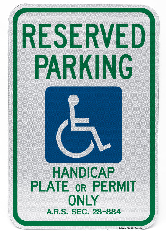 Reserved Parking Handicap Plate or Permit Only Sign