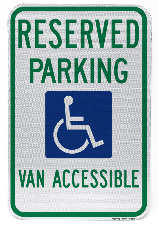 Reserved Parking Handicap Symbol Van Accessible Sign (Style B)