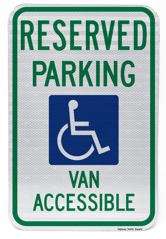 Reserved Parking Handicap Symbol Van Accessible Sign (Style A)