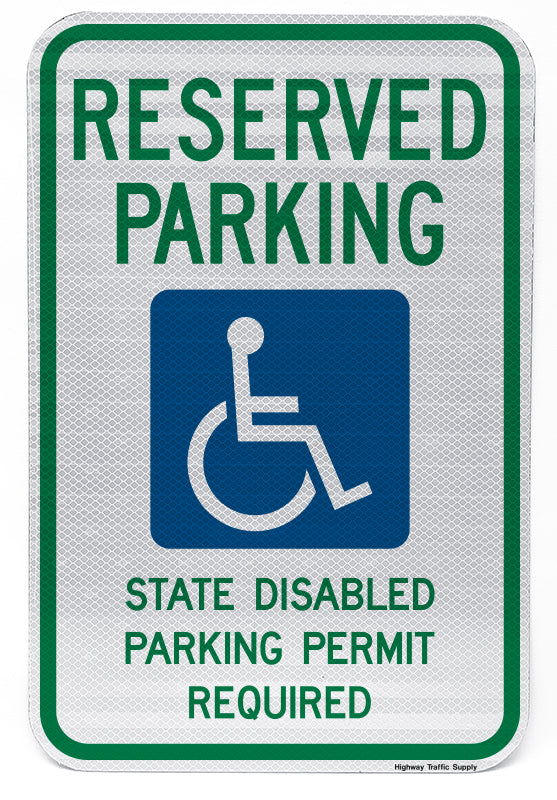 Reserved Parking Handicap Symbol State Disabled Parking Permit Required Sign