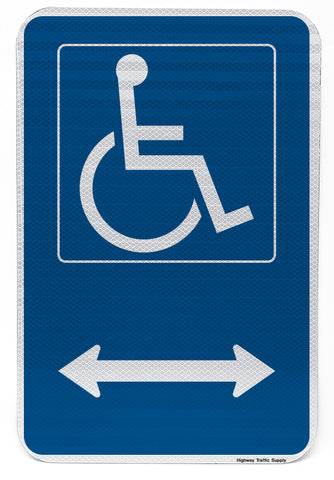 Handicapped Symbol Sign (with double arrow)