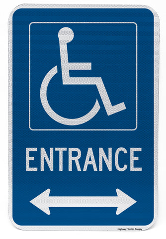 Handicapped Entrance Sign (with double arrow)