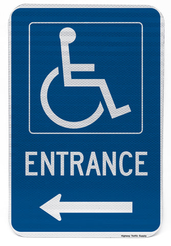 Handicapped Entrance Sign (with left arrow)