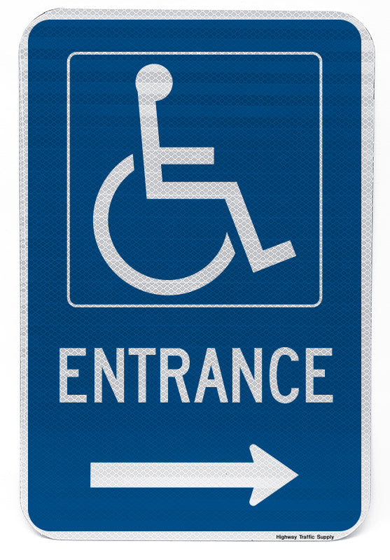Handicapped Entrance Sign (with right arrow)