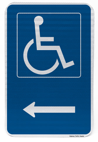 Handicapped Symbol Sign (with left arrow)