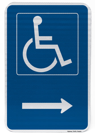 Handicapped Symbol Sign (with right arrow)